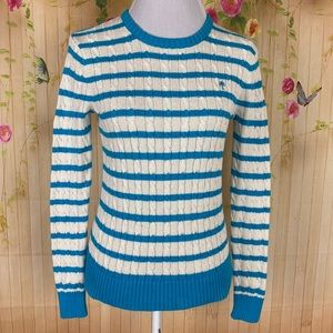 Lilly Pulitzer Blue and White Cable Knit Sweater